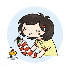 Cute doodle girl with cup of tea and muffin vector image