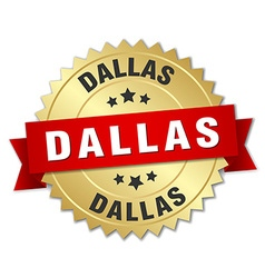 Dallas round golden badge with red ribbon vector image