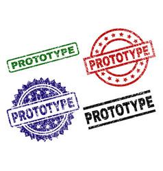 Damaged textured prototype stamp seals vector