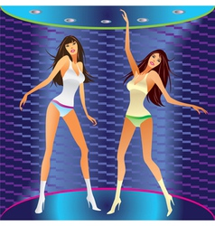 dancing girls on stage in a club vector image