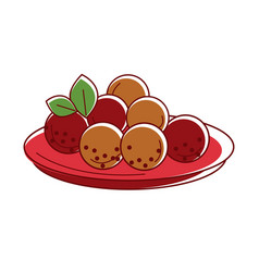 delicious mysore bonda on red plate isolated vector image