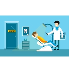Dentist doctors office and patient with toothache vector