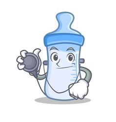 Doctor baby bottle character cartoon vector