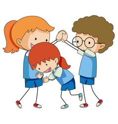 Doodle children playing on white background vector