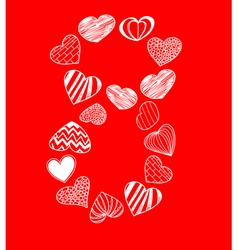 Eight of hearts on red vector image