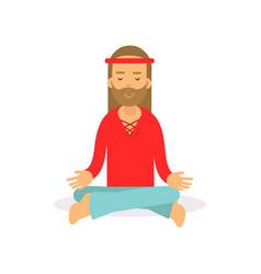 flat cartoon bearded man hippie sitting in lotus vector image