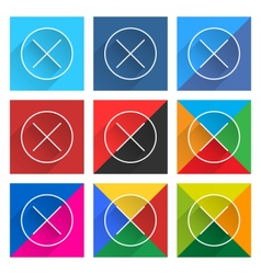 Flat popular social network web square icon delete vector