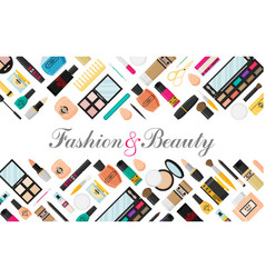Flat style makeup and skincare background with vector