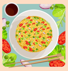 Fried rice with vegetables and sticks for chinese vector