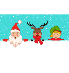 funny santa claus christmas deer elf cartoon vector image
