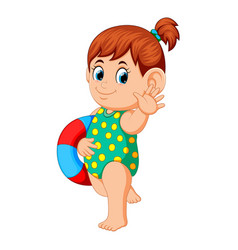 Girl with flotation ring vector