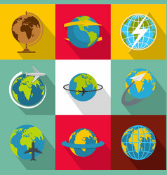 Global world icons set flat style vector