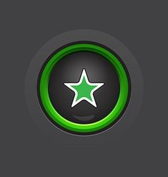 glossy circle dark star button vector image