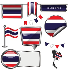 Glossy icons with Thai flag vector