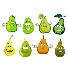 Green yellow and orange pear fruits vector