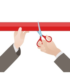Hand with scissors cut the red ribbon vector