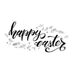 Happy easter greeting template with black and vector