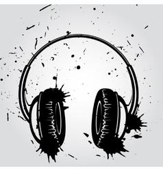 Headphones grunge style vector image