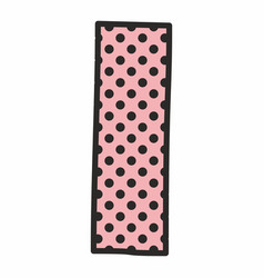 I alphabet letter with black polka dots on pink vector