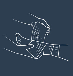 icon hand that bandaging the foot vector image