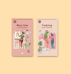 Instagram design stay at home concept with people vector