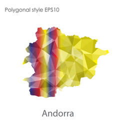 isolated icon andorra map polygonal geometric vector image