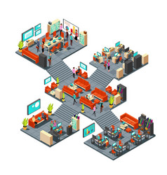 Isometric business offices with staff 3d vector