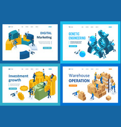 isometric concept digital marketing investment vector image