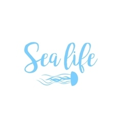 Jellyfish sea life lettering design vector image