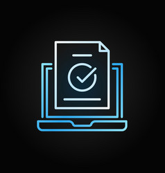 laptop with check mark blue outline concept vector image