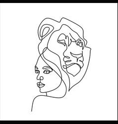 leo horoscope sign girl with lion animal head vector image