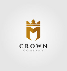 letter m with crown logo initial symbol design vector image