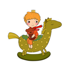 Little cute cartoon boy sitting on a rocking horse vector