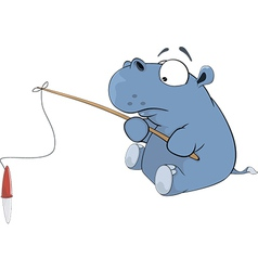 Little hippopotamus a fisherman Cartoon vector image