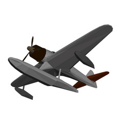 Low poly old plane for landing and taking off from vector