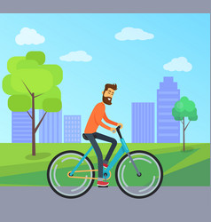 Man on bicycle in park vector