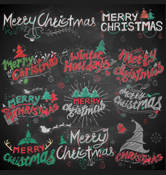 Merry christmas and winter holiday chalk lettering vector