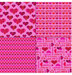 mod valentines day patterns on pink vector image