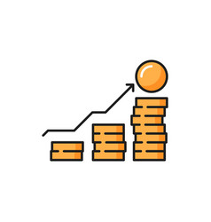 money growth chart isolated coins stack arrow up vector image