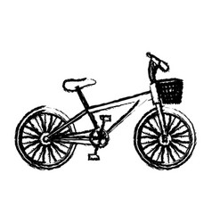 Monochrome sketch of bike with basket in white vector