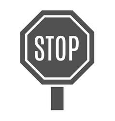 monochrome stop sign icon vector image