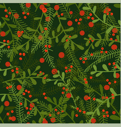 new year seamless pattern with leaves and red vector image