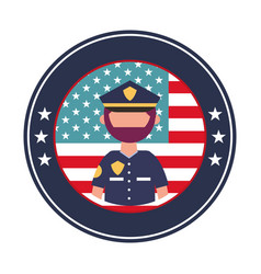 Officer police with usa emblem vector