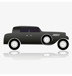 one isolated black simple old car eps10 vector image