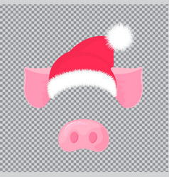 pig s nose and ears santa claus hat carnival vector image