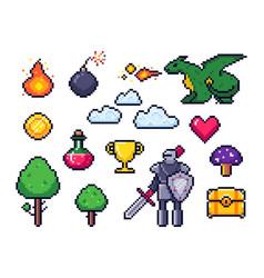 Pixel game elements pixelated warrior and 8 bit vector