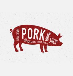 pork butcher vintage diagram meat vector image