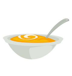 Pumpkin soup or mash in bowl with spoon isolated vector
