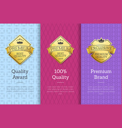 Quality award premium brand guarantee certificates vector