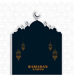 Ramadan kareem arabic greeting with mosque vector